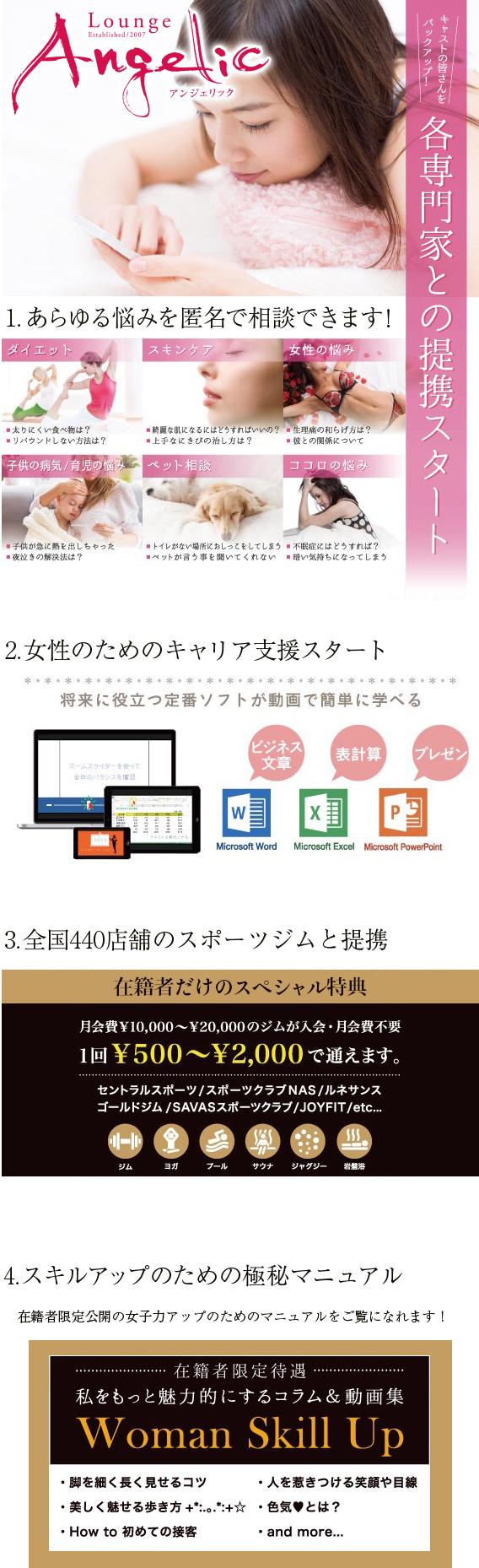 宮崎のキャバクラAngelicの求人情報・キャストサポート情報